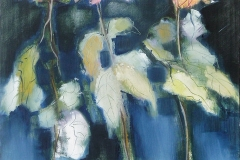 Nature Morte : Three Roses. Oil on Board.
